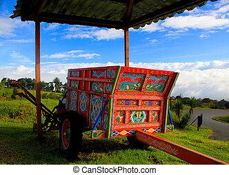 rica, costa, chariot boeuf, typique