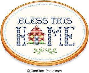 ricamo, benedire, cerchio, casa, questo