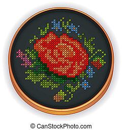 ricamo, cerchio, legno, rosso sorto