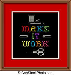 ricamo, fare, lavoro, esso, cornice