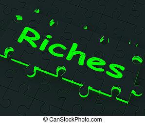 ricchezza, grande, puzzle, ricchezze, guadagni, esposizione