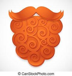 riccio, carta, vettore, finto, baffi, rosso, barba