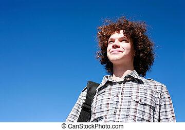 riccio, giovane, capelli, impaurito, ritratto, outdoors., uomo