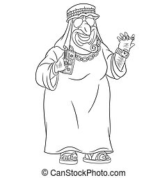 ricco, uomo, arabo