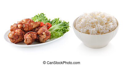 rice and fried chicken on white background