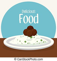 rice and meat delicious food breakfast menu