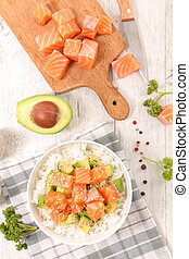 rice, avocado and raw salmon with sesame
