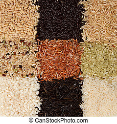 Rice background arranged in a checkerboard pattern