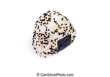 rice ball Onigiri isolated in white backgound - Onigiri on a...
