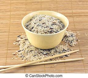 Rice, bowl and chopsticks closeup