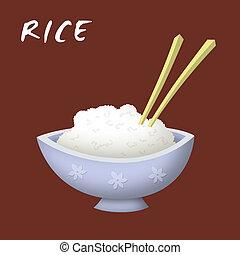 Rice Bowl - Bowl of rice cartoon with chopsticks.