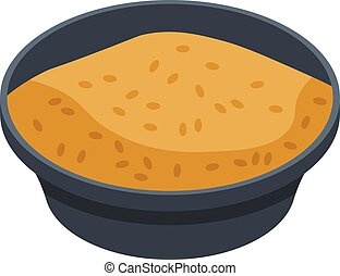 Rice brown dish icon, isometric style