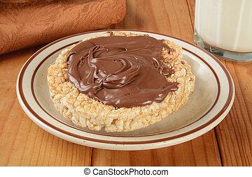 Rice cake with hazlenut spread