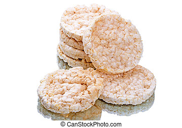 Rice cakes isolated on white background