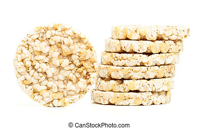 Rice cakes - Low fat rice cakes isolated on white background...