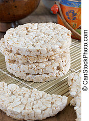 Rice cakes - Puffed rice cakes a popular diet food