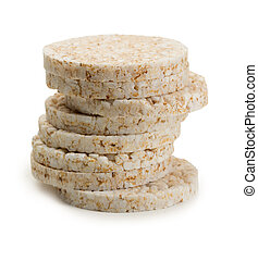 rice cakes - Stacked Rice Cakes isolated on white background...