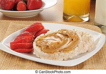Rice cakes with strawberries