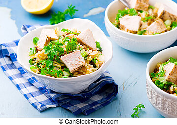 Rice, Chicken and Lentil Salad with Herbs.