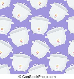 Rice cooker vector seamless pattern