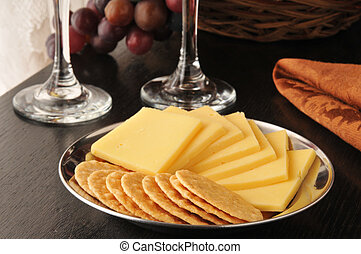 Rice crackers with smoked gouda cheese
