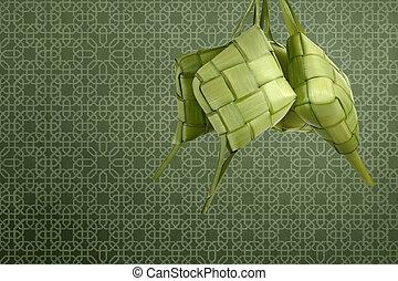 Rice dumpling (ketupat) for decoration at traditional...
