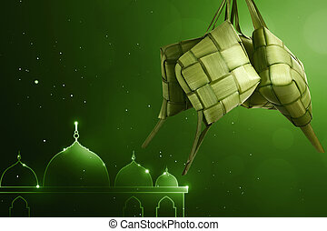 Rice dumpling (ketupat) for eid celebration with green...