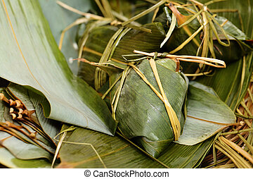 Rice dumpling on bamboo leaves