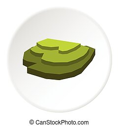 Rice field icon, flat style - Rice field icon. Flat ...