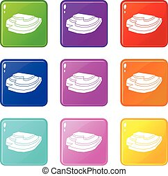 Rice field icons 9 set - Rice field icons of 9 color set ...