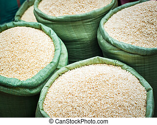 Rice for sale at the asian market. Organic food background