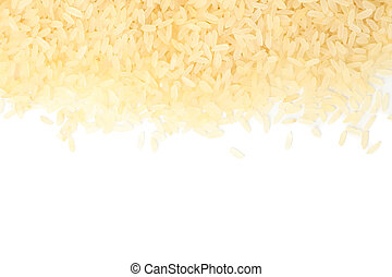 Rice frame isolated on white background, top view