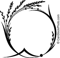 rice frame - vector frame with rice in black and white ...