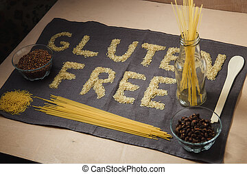 gluten free word with gray background