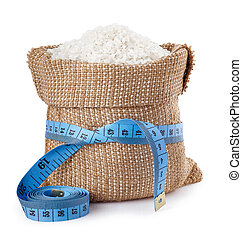 rice in burlap bag isolated on white