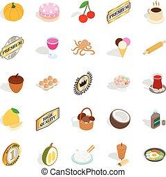 Rice icons set, isometric style