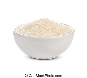 rice in a bowl isolated on white background