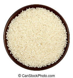 Rice in a brown plate