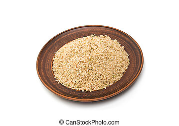 rice in a clay plate isolated