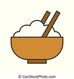 rice in bowl, food and gastronomy set, filled outline icon