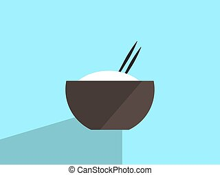 Rice in bowl, illustration, vector on white background.