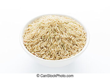 Rice in bowl on white background