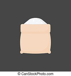Rice in opened sackcloth bag vector flat icon, Flat design of cooking ingredient, food object on the dark background, vector illustration with shadows