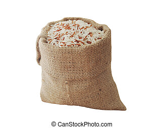 Rice in rice bag isolated on white, Clipping