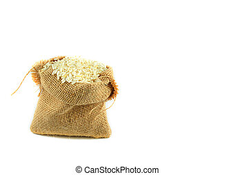 rice in sack isolated on white background