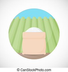 Rice in sackcloth bag vector flat icon, Flat design of cooking ingredient, food object on the rice plantation background, vector illustration with shadows