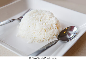 Rice in white dish