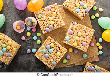 Rice krispies treats with candy - Rice krispies treats with...