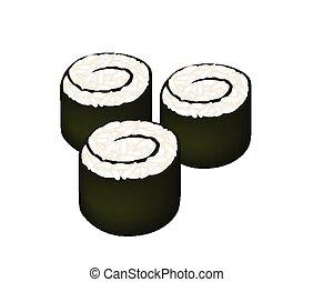 Japanese Cuisine, Illustration of Fresh Rice Sushi Rolls or Rice Makimono Rolls Isolated on White Background.
