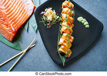 Rice Maki Sushi with nori foie mango and sweet onion - Rice...